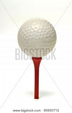 Close Up Of Golf Ball Resting On Tee