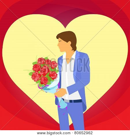valentine day holiday man in heart shape, Valentine's rose bouquet flowers