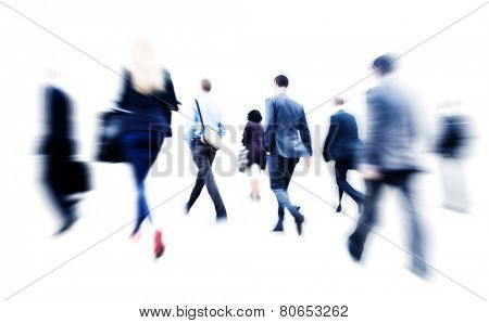Business People Commuter Walking Rush Hour Corporate Concept