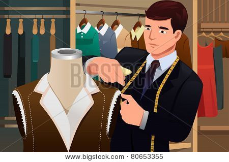 Tailor Adjusting Clothes On A Mannequin