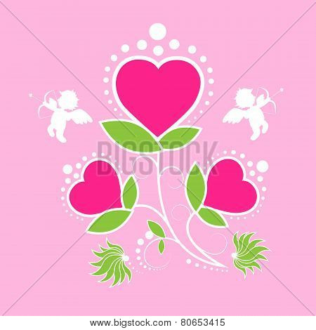 Valentine's day gift card rose flower angel cupid valentine