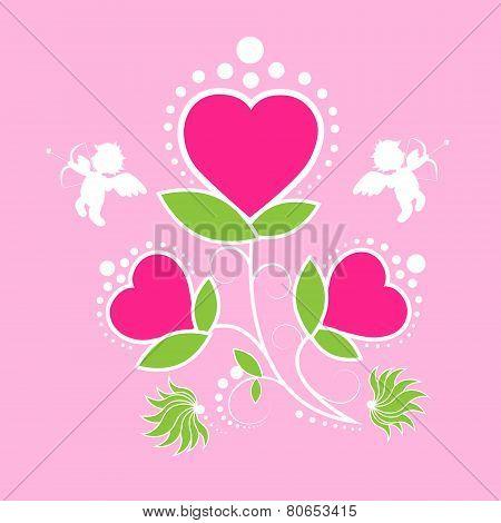 Valentine's day gift card rose flower angel cupid valentine