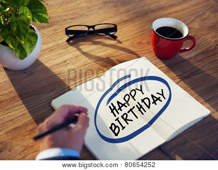 Man with Note Pad and Text Happy Birthday
