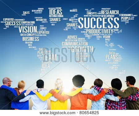 Global Business People Togetherness Rear View Success Concept