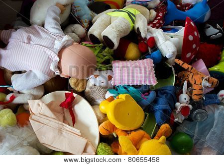 Pile Abandoned Stuffed Animals