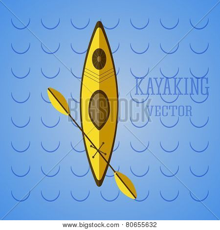 Canoe Icon Vector. Kayak On Blue Waves. Summer Icon And Badge. Camping Illustration