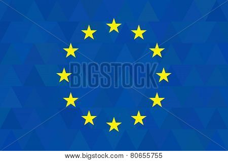 European Union Flag On Unusual Blue Triangles Background. Triangular Design. Original Proportions An