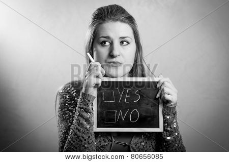 Monochrome Portrait Of Woman Thinking On