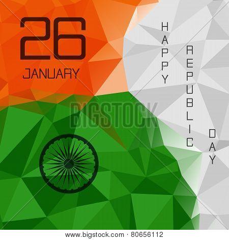 Elegant Indian Flag Theme Background Of Happy Republic Day. Polygonal Style. Triangle Design. 26 Jan
