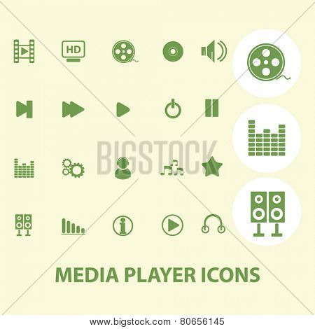 video, audio, music, media player web icons, signs, illustration isolated on background set, vector