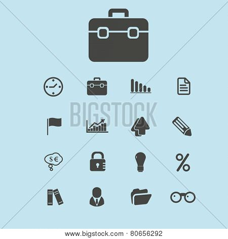 bank, finance, manager, management, office, teamwork, case icons, signs, vector illustrations
