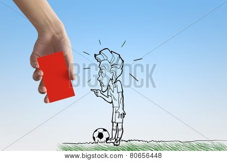 Caricature of football player and human hand showing red card