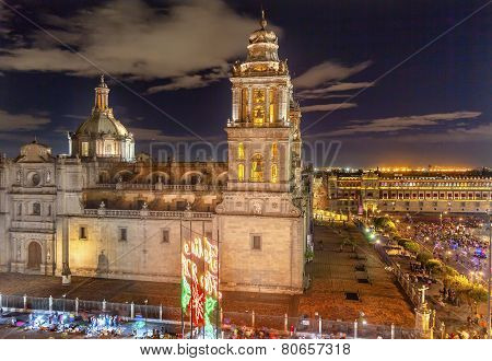Metropolitan Cathedral Zocalo Mexico City At Night