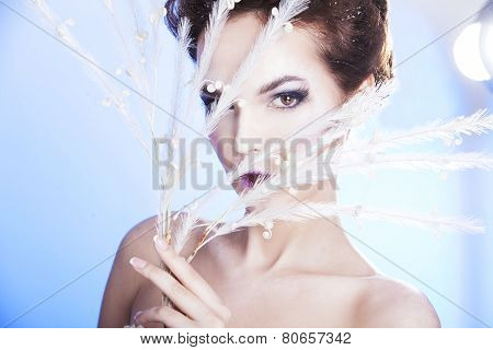 Beauty woman over winter background. Winter beauty woman. Snow queen. Make-up