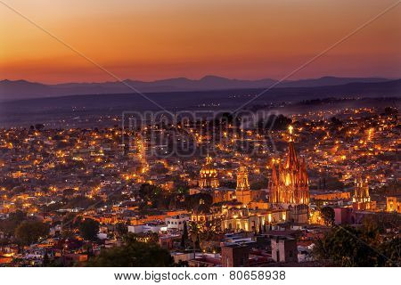 San Miguel De Allende Mexico Miramar Overlook Sunset Parroquia Archangel Church Lights