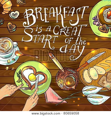 beautiful illustration  breakfast