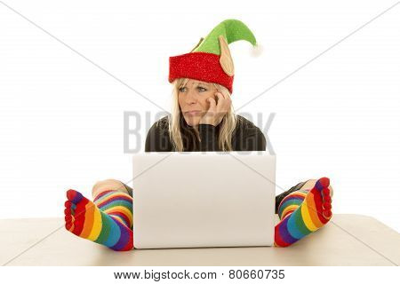 Woman Elf With Colorful Socks Around Laptop Look Side