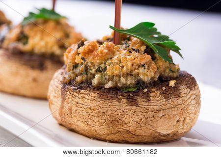 Plate With Stuffed Mushroom Caps.