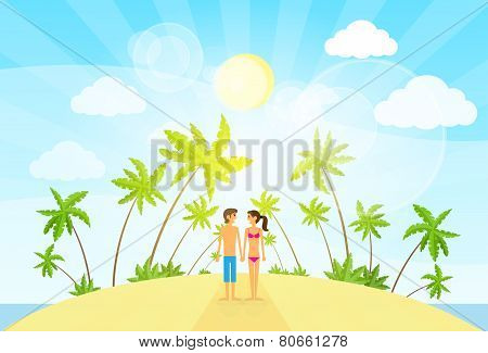 couple summer vacation holiday tropical ocean island palm tree