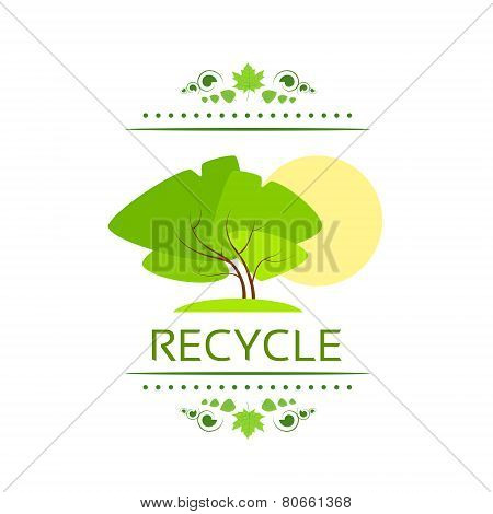 green tree recycle flat eco icon vector