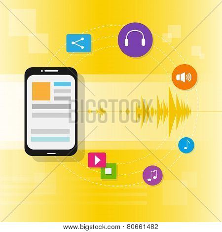 tablet pc music on line stream icon flat vector