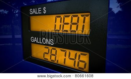 Conceptual gas pump putting people into debt by pumping gas
