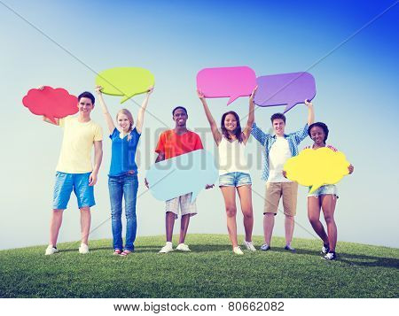 Group Friends Outdoors Speech Bubbles Expression Concept