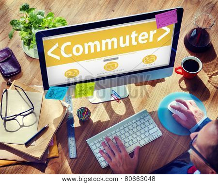 Digital Online Commuter Travel Transportation Office Browsing Concept