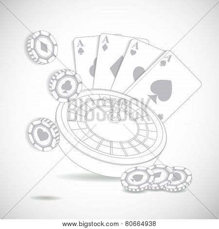 Casino composition with roulette wheel