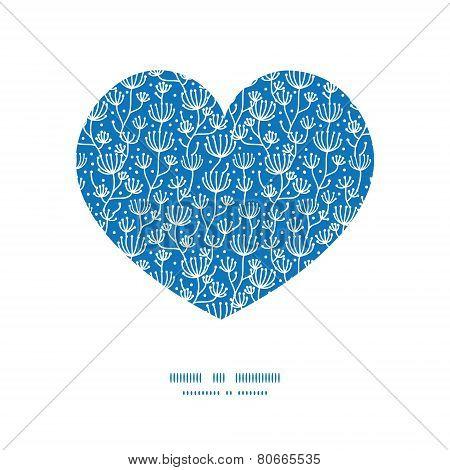 Vector blue white lineart plants heart silhouette pattern frame
