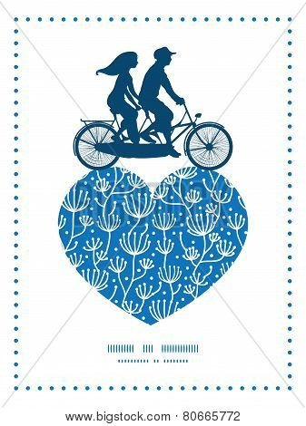 Vector blue white lineart plants couple on tandem bicycle heart silhouette frame pattern greeting ca