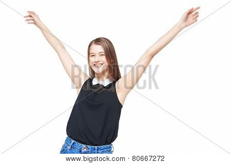 Happy Young Teenager Girl With Hands Up Isolated