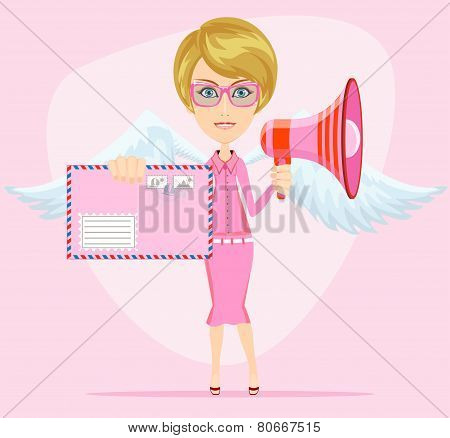 Female winged angel messenger with a message of love happiness letter and loudspeaker horn