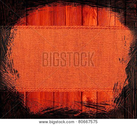 tangelo (orange) burlap textured on wood background