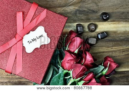 Gift Box With Roses And Chocolate