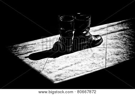High Contrast Bw Biker Boots In Sunshine
