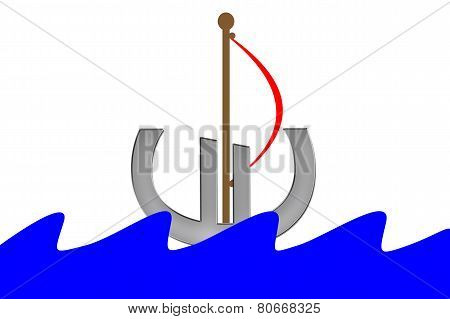 Euro Symbol with sail swimming into water with waves