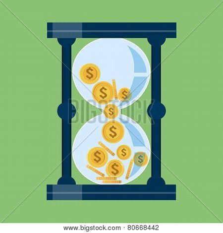 Time is Money .Gold coins in Hourglass Crumble Down