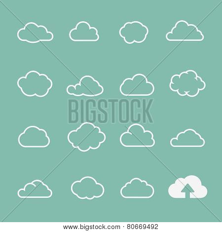 vector cloud shapes set, cloud icons for cloud computing for web and app design