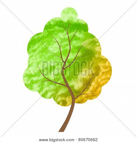 Abstract Green And Yellow Tree On A White Background.