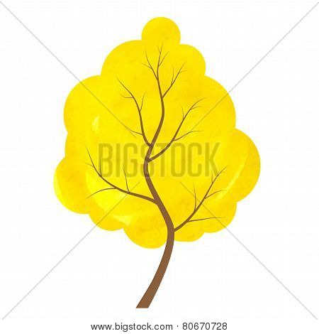 Abstract Yellow Tree On A White Background.