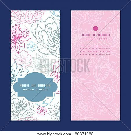 Vector gray and pink lineart florals vertical frame pattern invitation greeting cards set