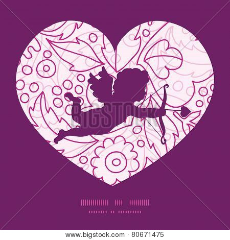 Vector pink flowers lineart shooting cupid silhouette frame pattern invitation greeting card templat