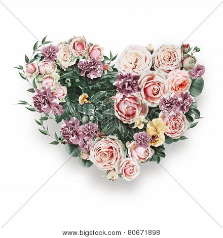 Heart Of Tender Pink Roses On St Valentines Day