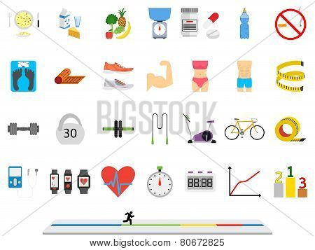 Fitness sport and health colorful flat design icons set
