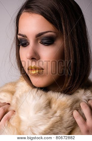 Close Up Alluring Woman With Furry Scarf