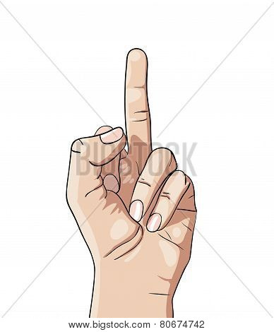 The sign fuck hand isolated on white background
