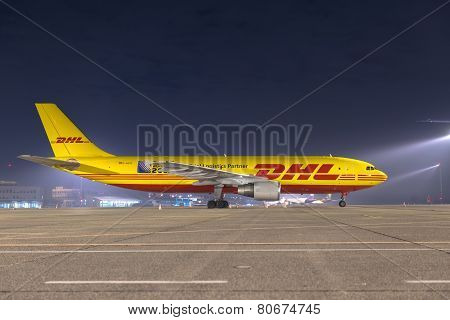 Budapest, Hungary - March 5 -  Dhl Airbus A300 Cargo Plane At Budapest Airport, March 5Th 2014. Dhl