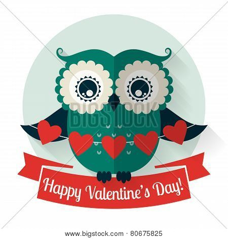 Happy Valentine's Day! Vector Greeting Card With Flat Owl.
