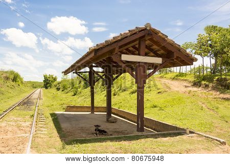 Lonely Train Stop In Cuban Countryside